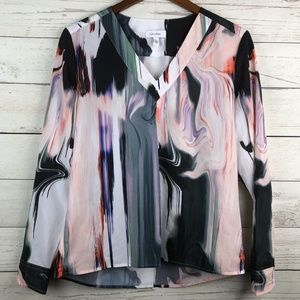 Calvin Klein Multicolor Marbled V-Neck Blouse